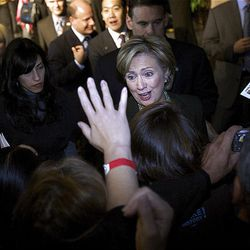 Sen. Hillary Clinton, D-N.Y., center, shakes hands with members of the audience after her speech in West Valley City. Clinton was in Utah to campaign for Democratic presidential candidate Sen. Barack Obama, D-Ill., and speak at a fundraiser for the Utah Democratic Party at the Utah Cultural Celebration Center on Saturday.