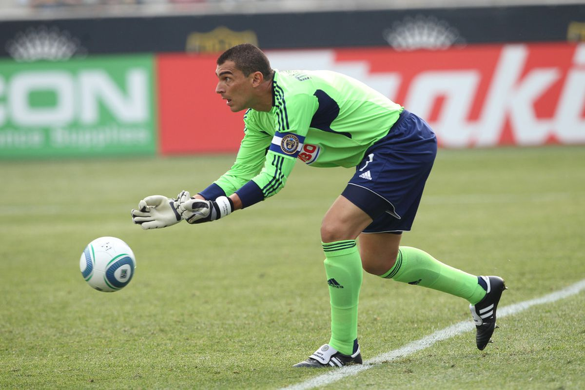 CHESTER, PA - JUNE 11: Goalkeeper Faryd Mondragon #1 of the Philadelphia Union makes a save during a game against Real Salt Lake at PPL Park on June 11, 2011 in Chester, Pennsylvania. The game ended 1-1. (Photo by Hunter Martin/Getty Images)