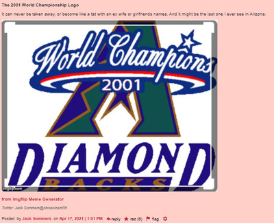 The 2001 World Championship Logo It can never be taken away, or become like a tat with an ex wife or girlfriends names. And it might be the last one I ever see in Arizona. (embedded is a picture of the purple and teal logo the team used to celebrate their 2001 world series win) (6 recs)