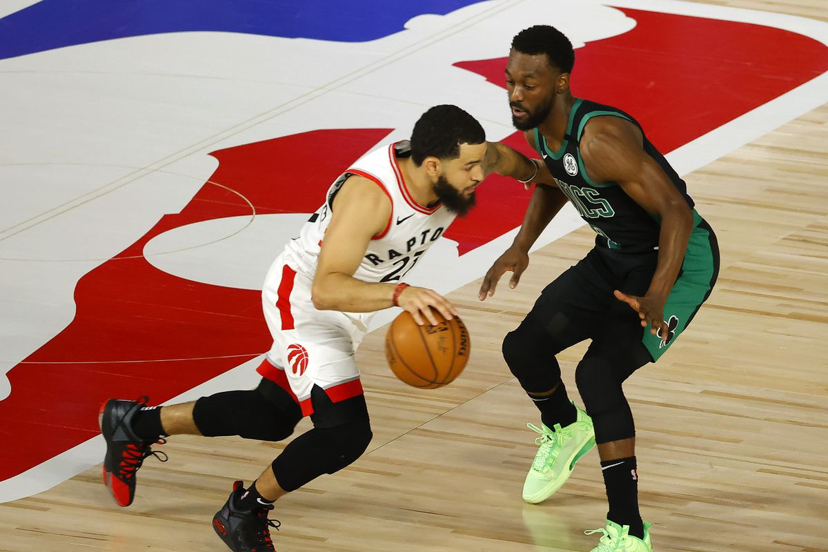 Fred VanVleet of the Toronto Raptors drives against Kemba Walker of the Boston Celtics in Game One of the Eastern Conference Second Round during the 2020 NBA Playoffs at The Field House at ESPN Wide World Of Sports Complex on August 30, 2020 in Lake Buena Vista, Florida.