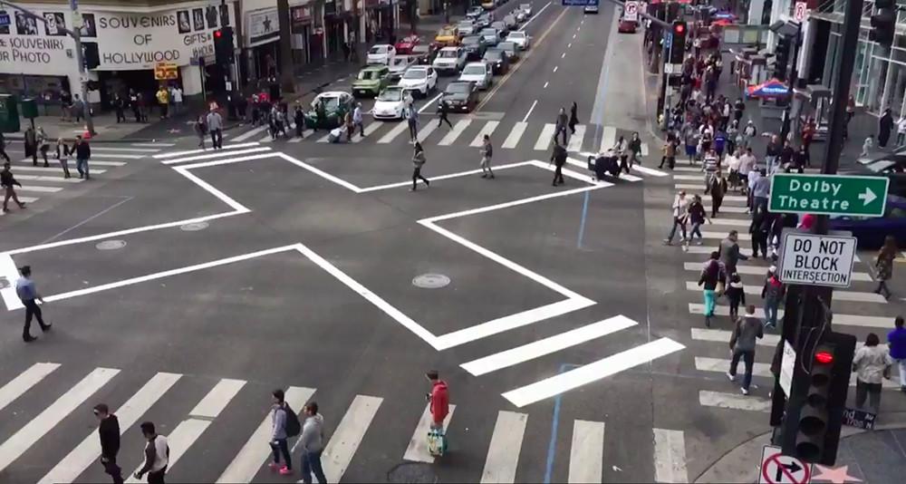 A scramble crosswalk at Hollywood and Highland