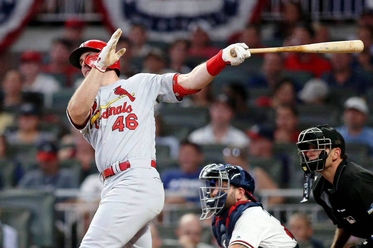 St. Louis Cardinals first baseman Paul Goldschmidt hits a home run against the Atlanta Braves during the eighth inning of game one of the 2019 NLDS playoff baseball series at SunTrust Park.