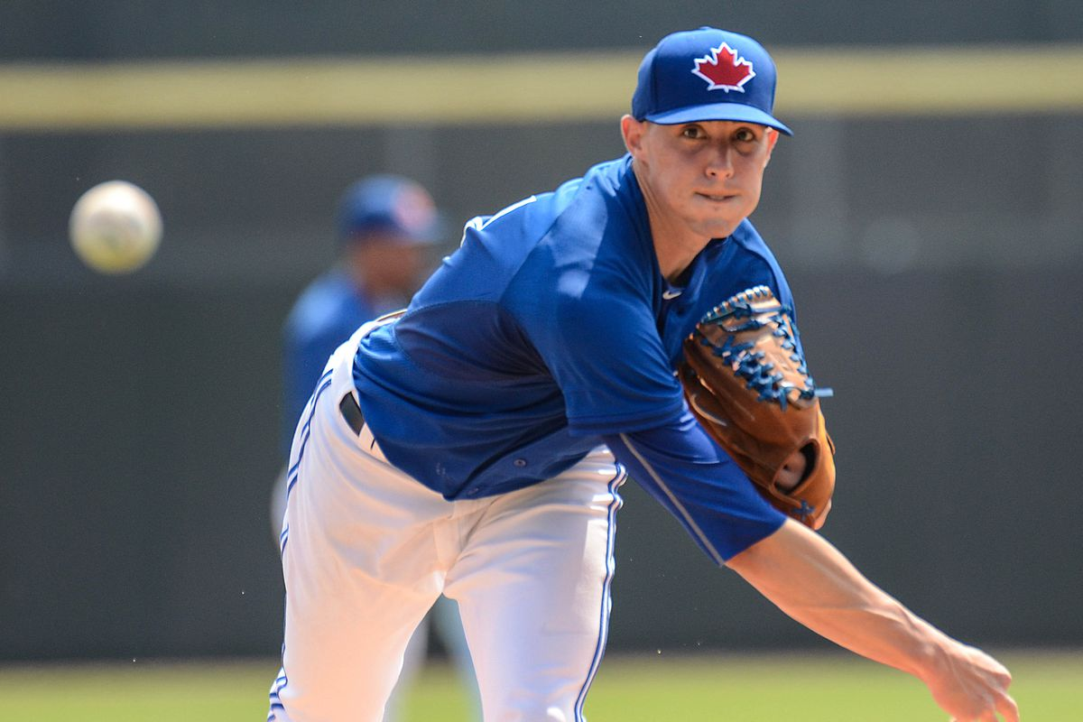 """Blue Jays right handed pitcher Aaron Sanchez, not to be confused with the chef from """"Chopped""""."""