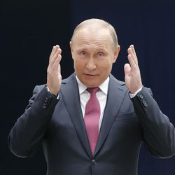 """Russian President Vladimir Putin talks to press after his annual televised call-in show in Moscow on Thursday, June 15, 2017. Putin said during Thursday's live call-in show televised nationwide that the """"crisis is over,"""" pointing at an economic growth over the past nine months."""