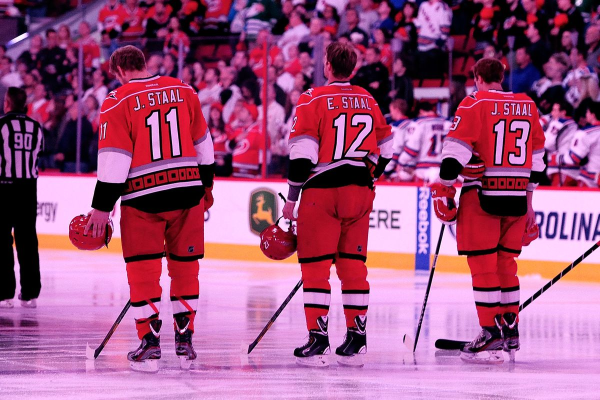 Jordan, Eric, and Jared Staal start the game for the Hurricanes