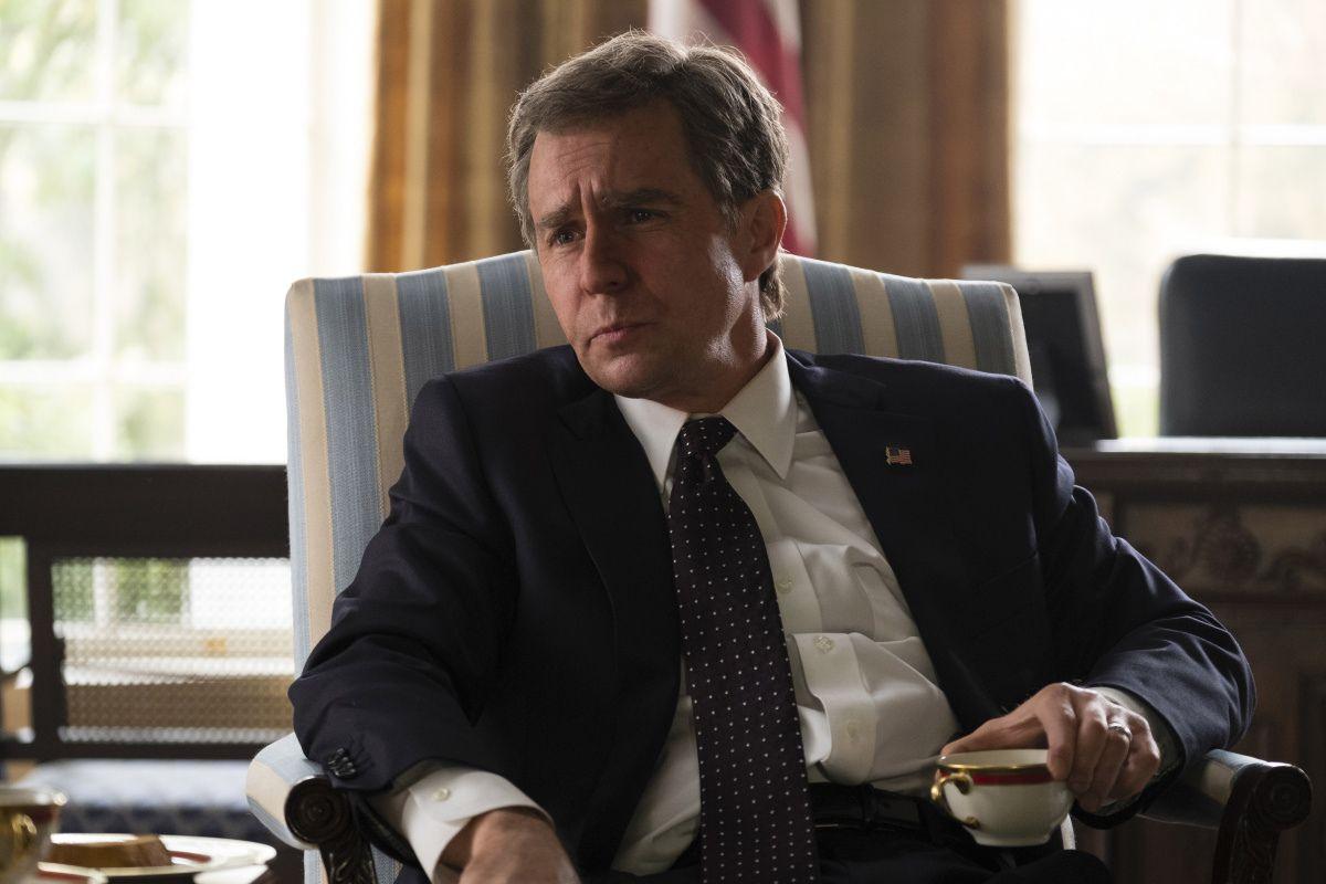 Sam Rockwell as George W. Bush in Vice.