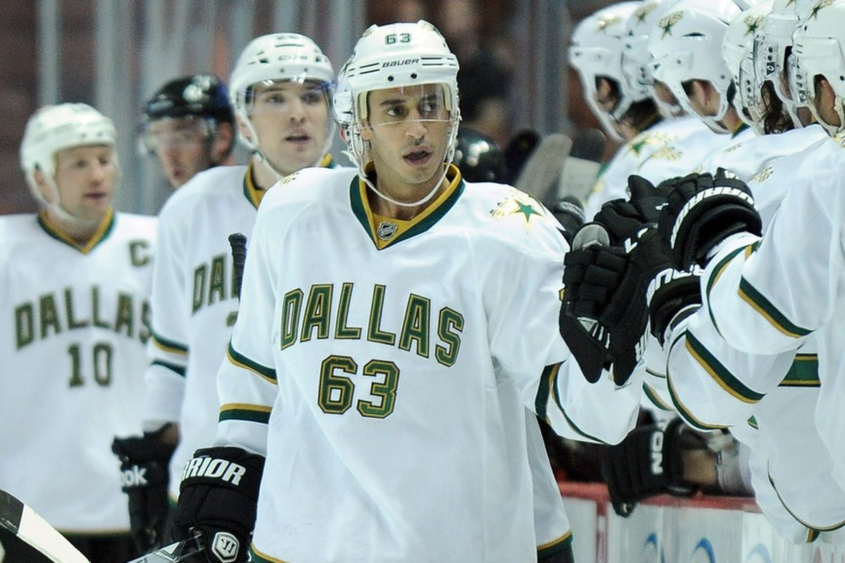 ANAHEIM, CA - OCTOBER 21:  Mike Ribeiro #63 of the Dallas Stars celebrates his goal for a 2-0 lead over the Anaheim Ducks during the first period at Honda Center on October 21, 2011 in Anaheim, California.  (Photo by Harry How/Getty Images)