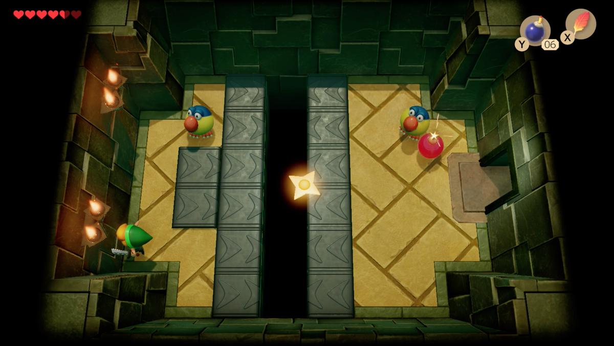 Link's Awakening Key Cavern using a bomb to fight Pairodds.