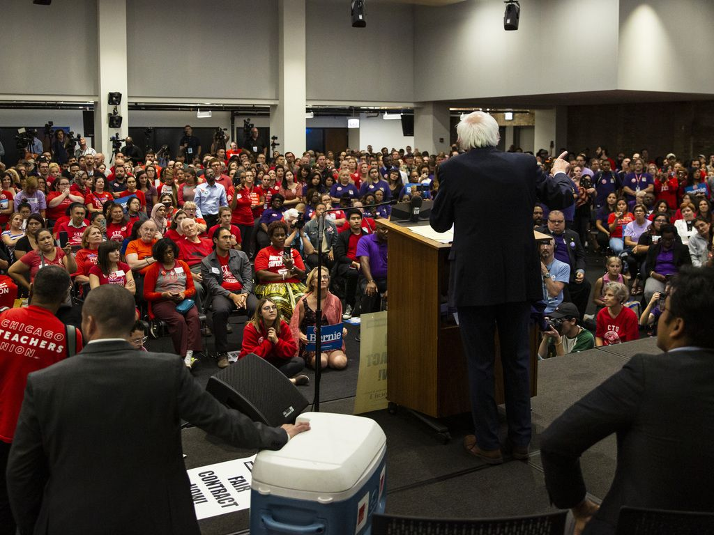 Presidential candidate U.S. Sen. Bernie Sanders, I-Vt., speaks during a rally at the Chicago Teachers Union headquarters, Tuesday