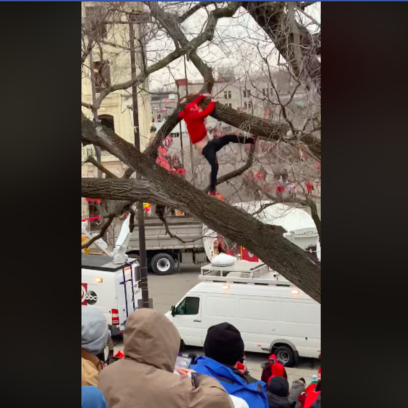 Ass Parade Images this chiefs fan and his butt fell out of a tree during super