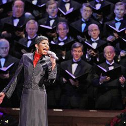 Singer Natalie Cole performs at the annual Christmas concert at the Conference Center in Salt Lake Friday.