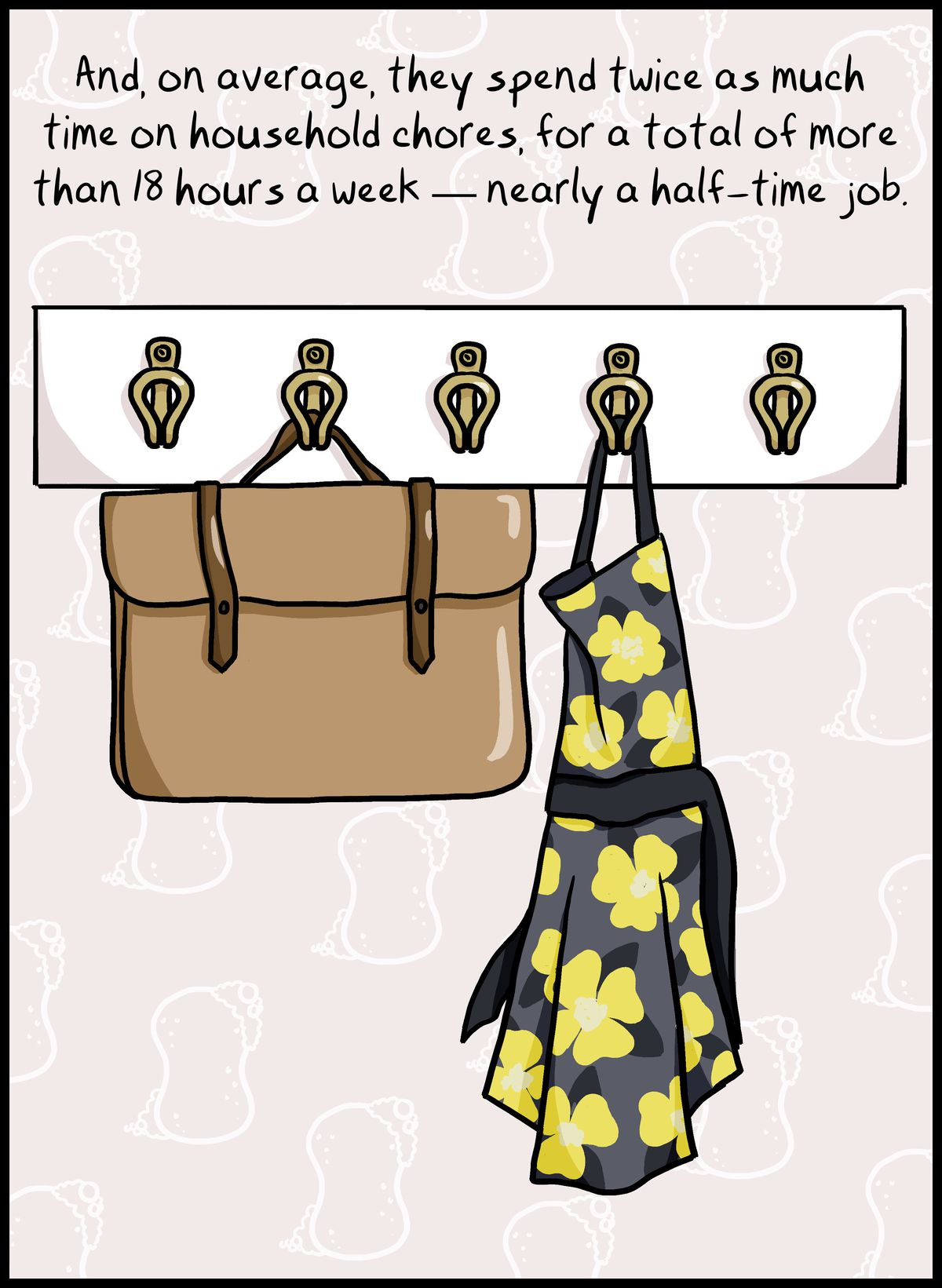 And, on average, they spend twice as much time on household chores, for a total of more than 18 hours a week — nearly a half-time job.