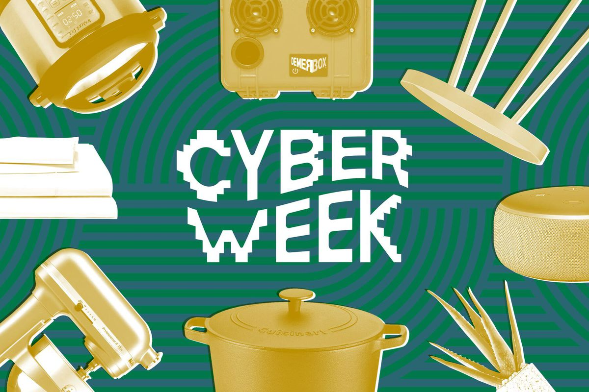 """The text """"Cyber Week"""" on a green background with household objects rendered in yellow."""