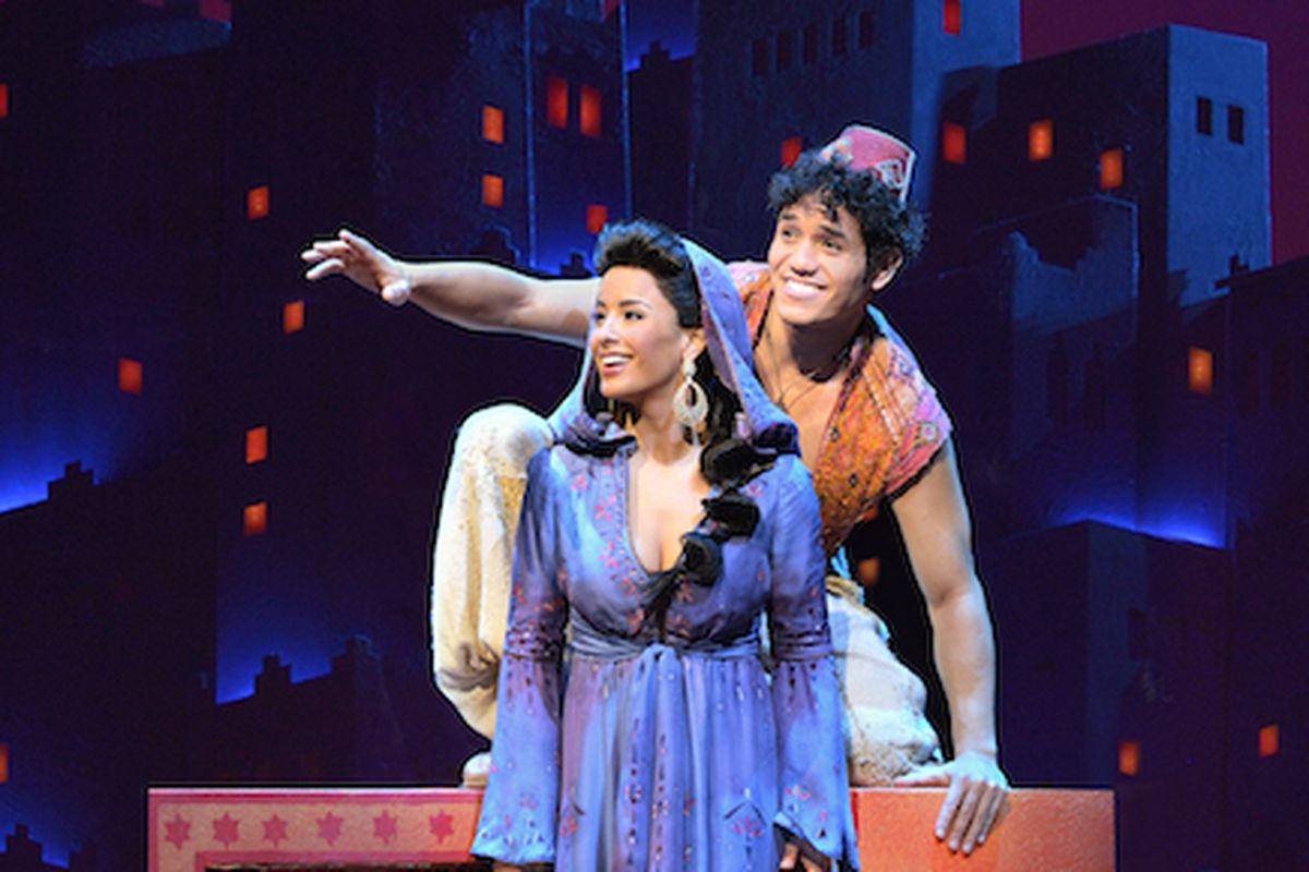 Courtney Reed as Princess Jasmine and Adam Jacobs as Aladdin; Photo by Deen Van Meer, image courtesy of Disney