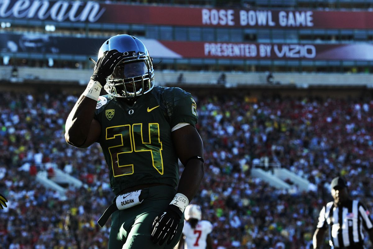 Kenjon Barner almost left for the NFL, but will come back to lead the Oregon offense in 2012. Also, I love those uniforms, especially the numbers.