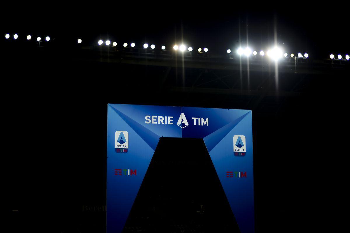 A Serie A TIM banner is pictured prior to the Serie A...