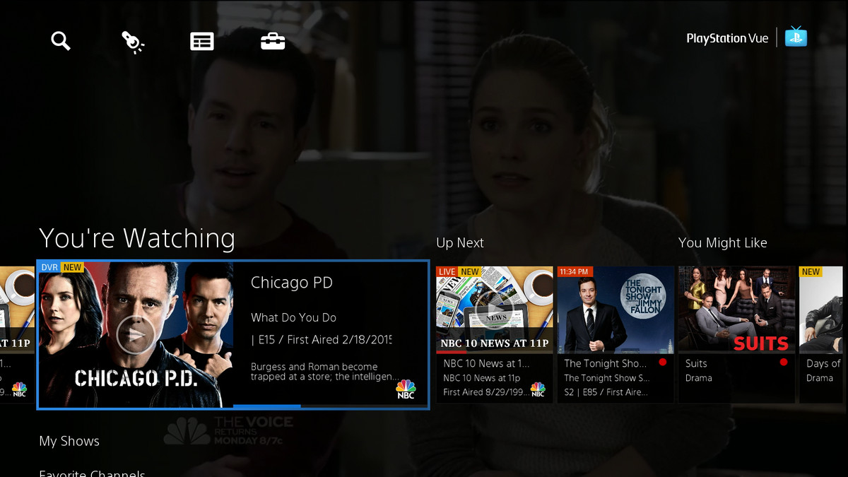PlayStation Vue interface