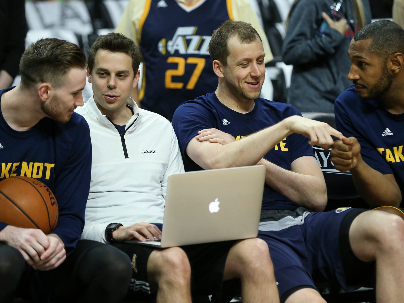 Utah Jazz forward Gordon Hayward (20), Jazz assistant coach Zach Guthrie, forward Joe Ingles (2) and center Boris Diaw (33) chat before Game 7 of the first-round NBA playoffs series between the Utah Jazz and Los Angeles Clippers at the Staples Center in Los Angeles on Sunday, April 30, 2017.