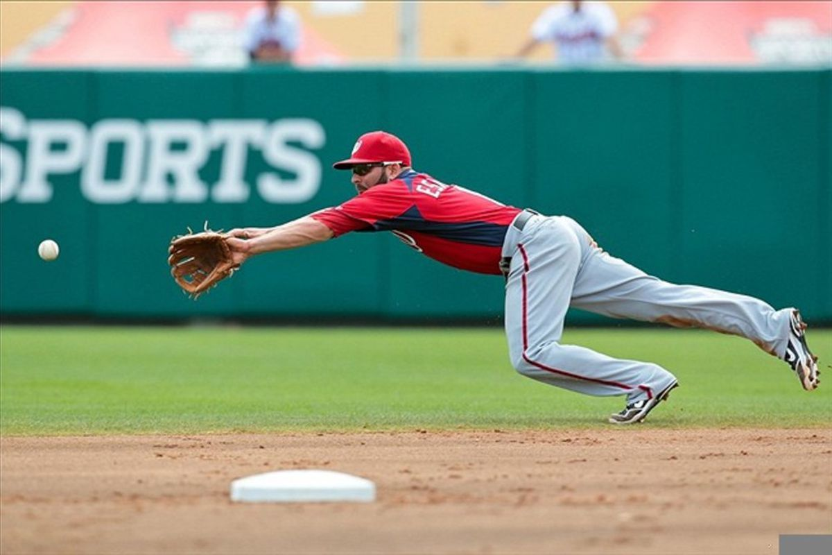 March 6, 2012; Lake Buena Vista, FL, USA; Washington Nationals second baseman Danny Espinosa (8) dives for a ground ball in the first inning of the game against the Atlanta Braves at Champion Stadium. Mandatory Credit: Daniel Shirey-US PRESSWIRE