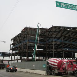 Thu 1/7: cement delivered to upper floors via crane and tubing -