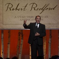 """Governor Gary Herbert welcomes the crowd. For all his contributions to the state of Utah, Robert Redford was recognized and honored by Governor Gary Herbert at a gala in his honor, """"The Governor's Salute to Robert Redford: A Utah Tribute to an American Icon"""" at the Grand America Hotel, Saturday, November 9, 2013. Redford is an actor, director, producer, philanthropist, businessman, environmentalist, and founder of the Sundance Resort, the Sundance catalog, and the Sundance Institute which hosts the Sundance Film Festival."""