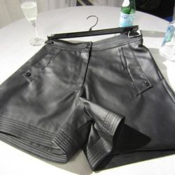 Pleather high-waisted cuffed shorts. No commentary necessary.