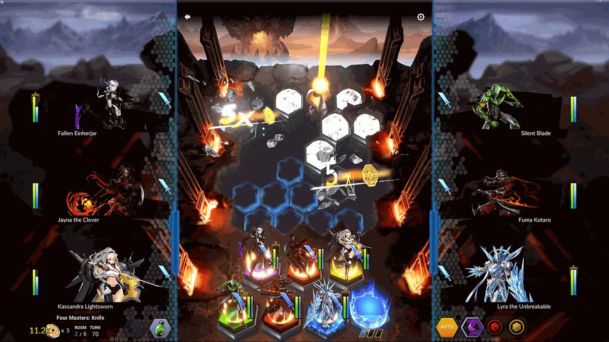 A screenshot of the hex-based battlefield in Battle Breakers.