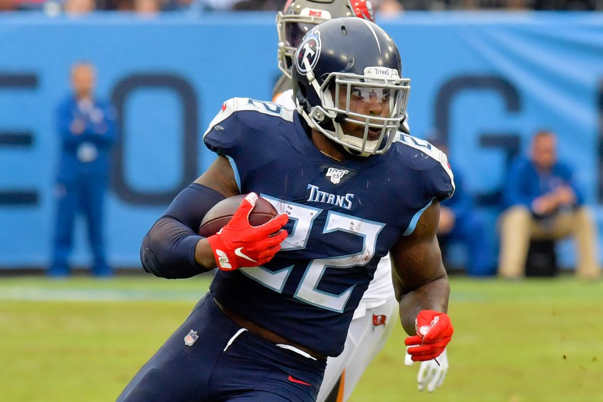 Tennessee Titans running back Derrick Henry rushes against the Tampa Bay Buccaneers during the second half at Nissan Stadium.