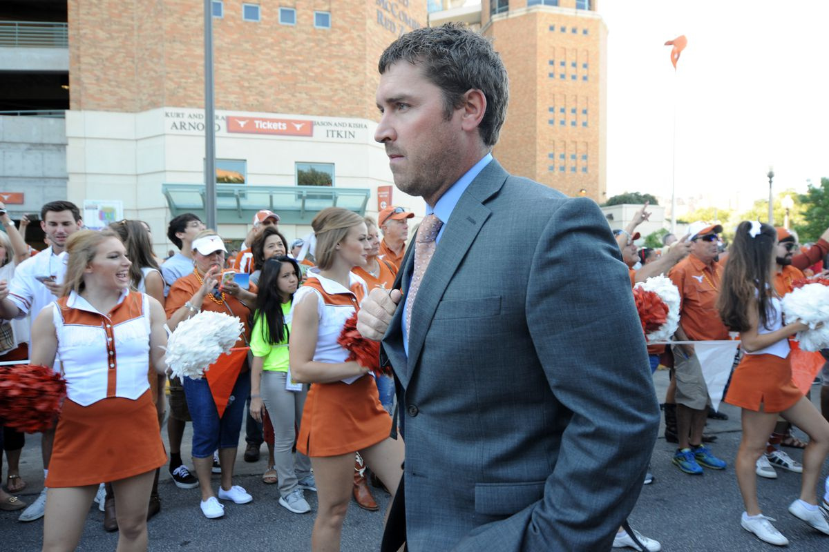 Texas offensive coordinator Sterlin Gilbert arrives at the stadium prior to NCAA game between Baylor and Texas on October 29, 2016