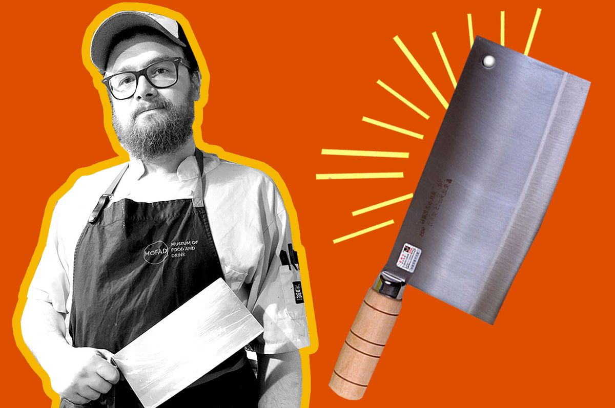 Line cook John Hutt with his cai dao knife