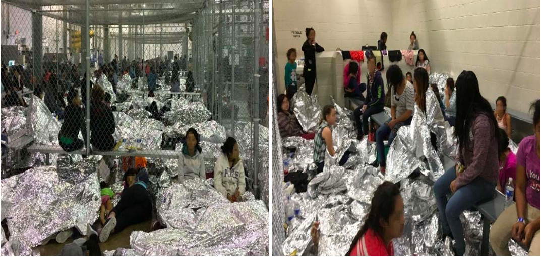 Overcrowding of families observed by OIG on June 11, 2019, at Border Patrol's McAllen, TX, Centralized Processing Center.