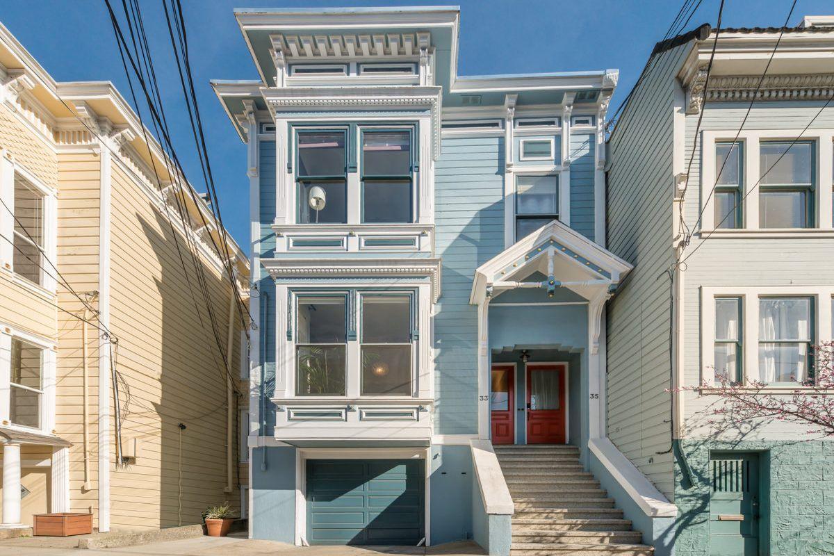 Blue exterior of Castro home.