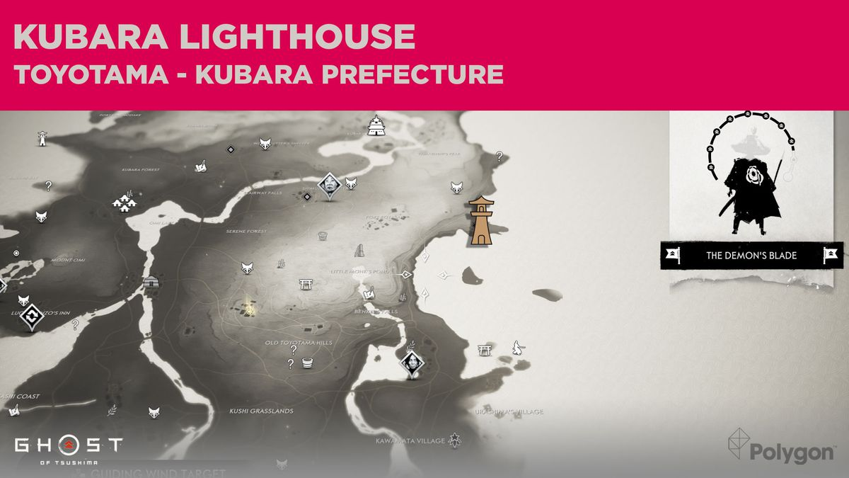 The lighthouse location in Kubara in Ghost of Tsushima