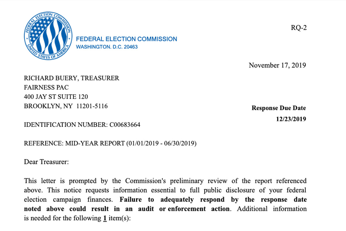 The FEC sent a letter to Mayor Bill de Blasio's Fairness PAC about a $123,000 donation from his presidential campaign.