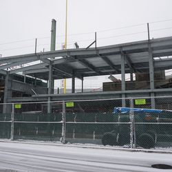 View of the deck being added, to the left field bleachers