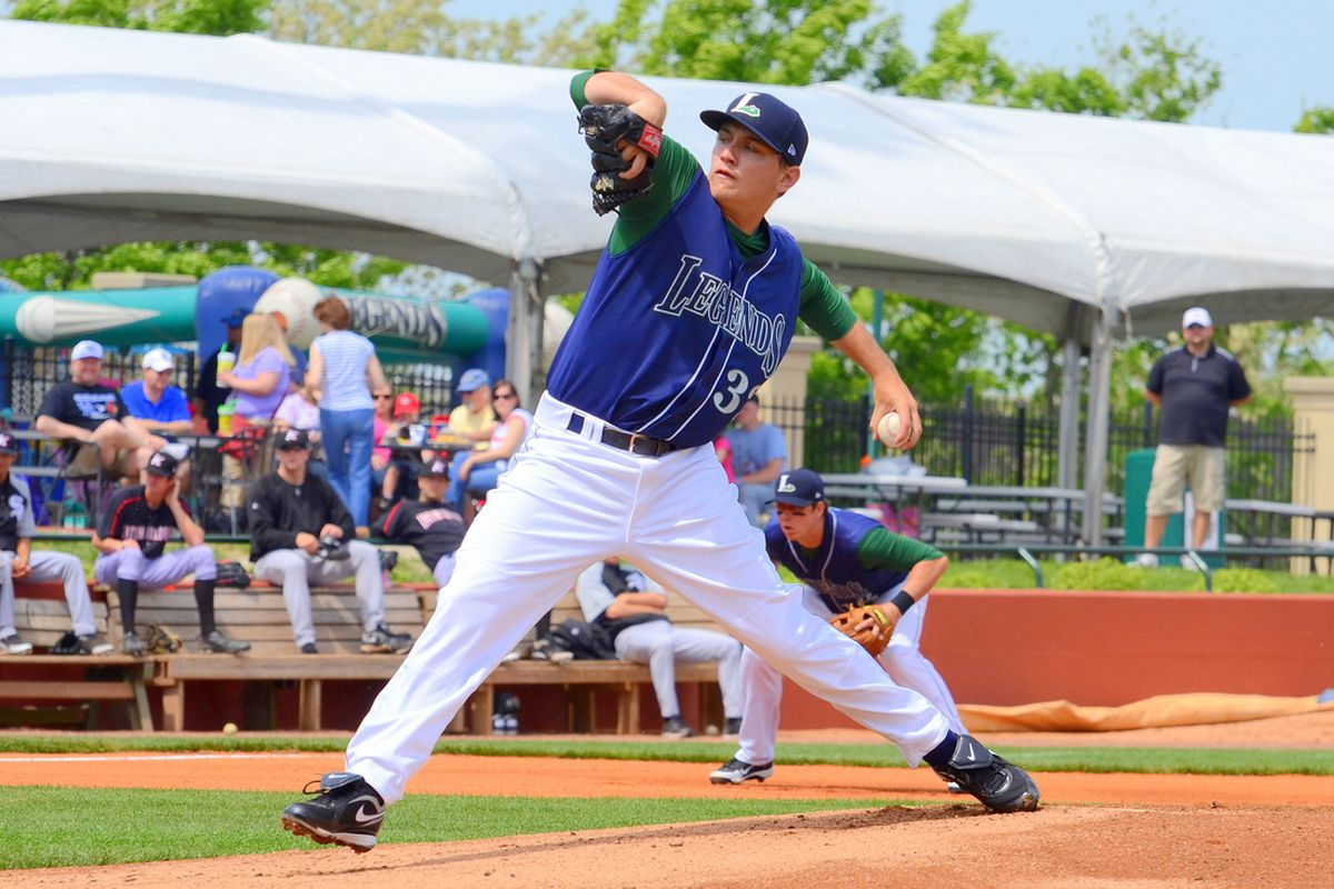 Kyle Hallock pitching in his first Class A game with the Legends. (<em>photo: Clinton Riddle</em>)