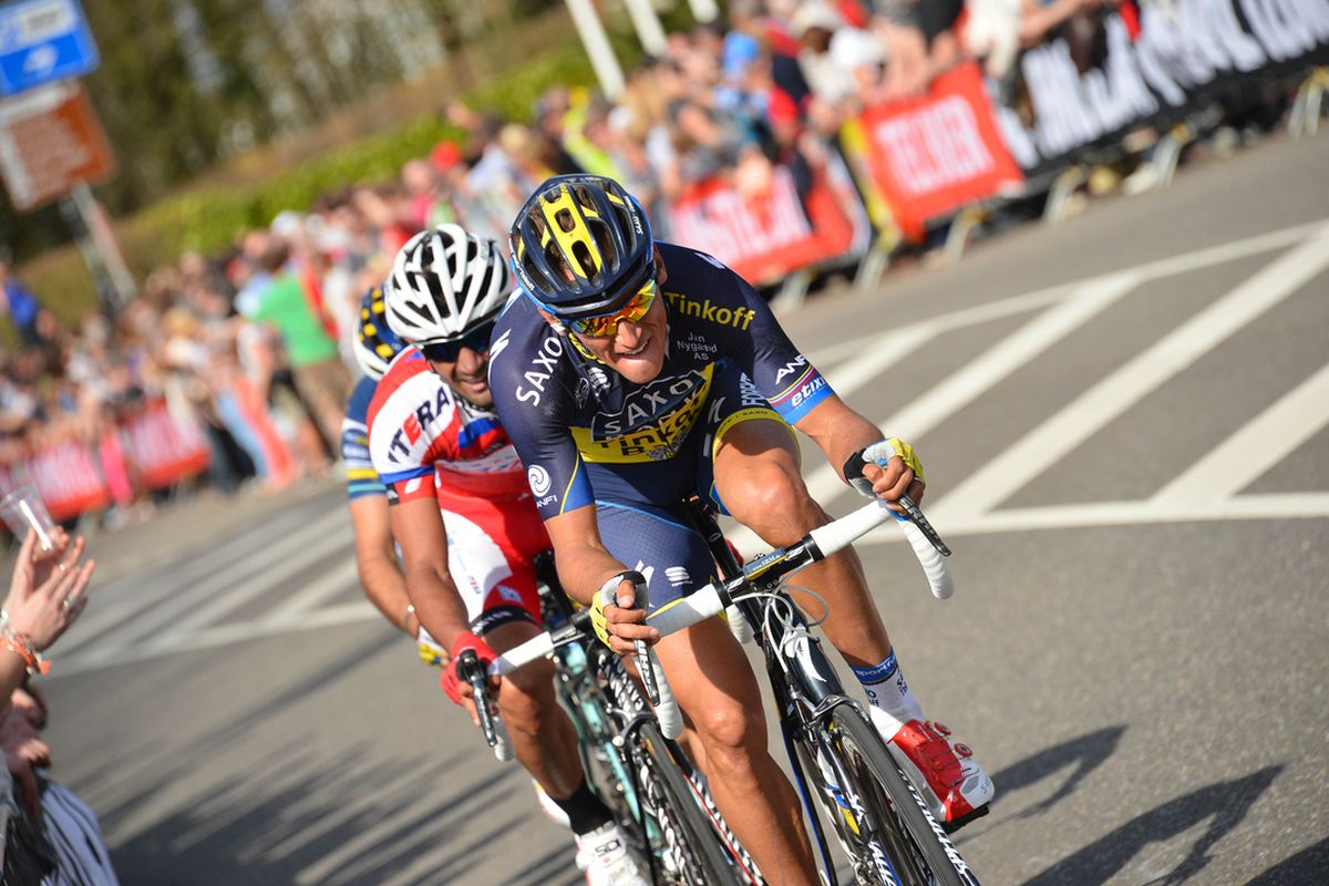 Roman Kreuziger, Marco Marcato, and Giampaolo Caruso bridge to the breakaway on the penultimate climb of the Cauberg