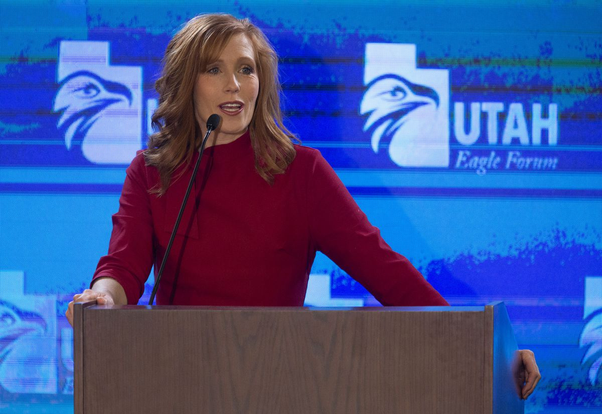 Jennie Taylor speaks during the annual Utah Eagle Forum convention in Sandy on Saturday, Jan. 11, 2020.
