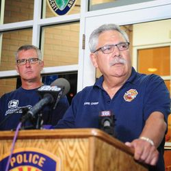 Prescott, Ariz. Fire Chief Dan Fraijo gives a news conference in Prescott, Ariz., confirming that 19 members of the City of Prescott's Granite Mountain Hotshot team died while fighting the Yarnell Hill Fire, Sunday, June 30, 2013. (AP Photo/The Daily Courier, Les Stukenberg)