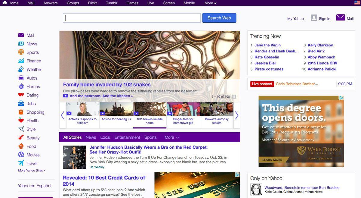 The old Yahoo homepage
