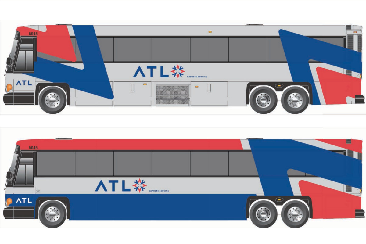 Conceptual designs for new transit buses shown with The ATL's recently adopted logo.