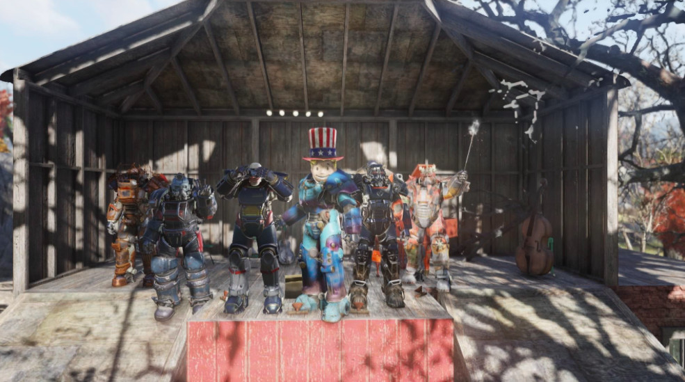 A crew of Fallout 76 decked in power armor pose for the camera.