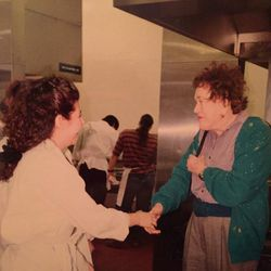 Janine Sciarappa (pastry chef and faculty member of BU's culinary arts program) meeting Julia Child at BU in 1994