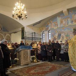 Lithuanian Orthodox priest Josif Zeteisvili speaks during a Sunday Mass at the Saint Panteleimon Orthodox Church in Visaginas, Lithuania, on Nov. 27, 2016.