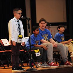 Henry Alesia from the Edgebrook Elementary School competes in annual Citywide Spelling Bee Championship at the Lindblom Math and Science Academy on March 14, 2019. The winner will earn the opportunity to represent Chicago Public Schools at the Scripps National Spelling Bee in Washington, D.C., where they will compete against the best spellers from across the nation for the title of 2019 national Spelling Bee Champion and an opportunity to win a $40,000 prize. | Victor Hilitski/For the Sun-Times