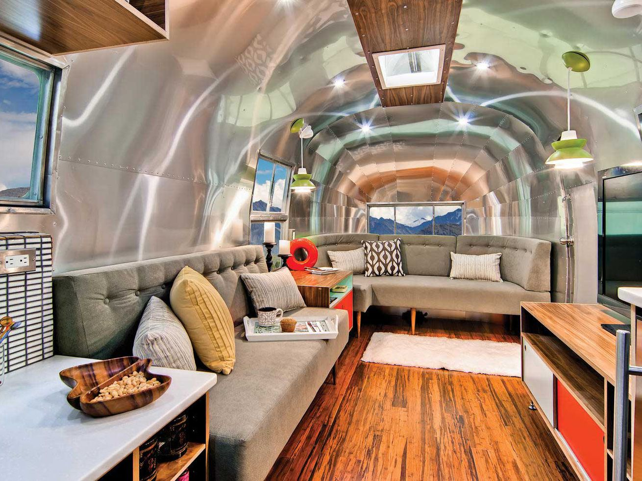Rare 40-foot Airstream renovated into midcentury modern dream