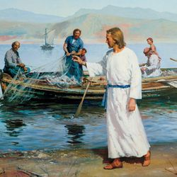 One day, Jesus taught from Peter's boat on the Sea of Galilee. Afterward He told Peter to take the boat to deep water and let out the nets to catch fish. Peter explained that he and others had been fishing all night without catching anything, but he said he would do as Jesus commanded. Peter and his brother Andrew caught so many fish that their net began to break. James and John came in another boat to help. The fishermen were all amazed. Jesus called Peter and Andrew to follow Him and become fishers of men. He also called James and John. They all left their boats and nets and followed Jesus. Artist, Harry Anderson. Pictures of life of Christ for special issue. Monday, Dec.28, 2009, Photo copyright IRI
