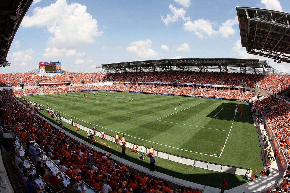 May 26, 2012; Houston, TX, USA; General view of BBVA Compass Stadium during the second half of a match between the Houston Dynamo and the Los Angeles Galaxy. The Dynamo defeated the Galaxy 2-1. Mandatory Credit: Troy Taormina-US PRESSWIRE
