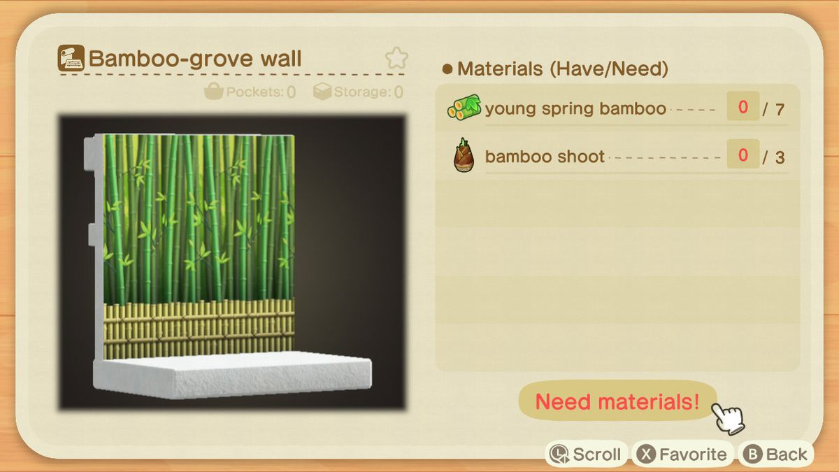 An Animal Crossing crafting screen for a Bamboo-grove Wall