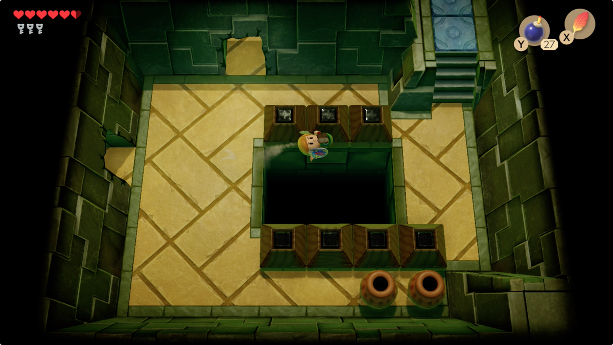 Link's Awakening Key Cavern using the Pegasus Boots to long jump over a three square wide gap